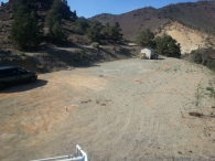 Can you see the orange markings on the dirt? We started laying out the house!