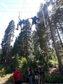 Working on the ropes course.