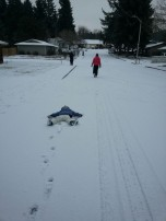 snow angels in the street, because, why not?